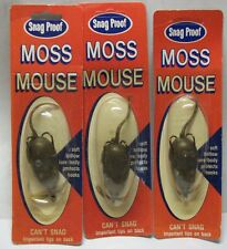 Lot 3 New Old Stock Snag Proof #701 Moss Mouse Brown Bass Fishing Soft Plastic