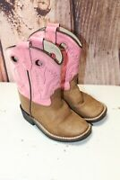 Old West 6.5 Pink Brown Leather Toddler Girl's Western Boots