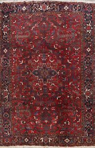 Vintage Geometric Heriz Area Rug Wool Handmade Traditional Oriental Carpet 9x11