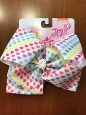 JoJo Siwa bow white with multi colored hearts