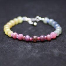 Long Natural Rainbow Sapphire Bracelet Sterling Silver, Mens Bracelet, September