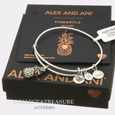 Authentic Alex and Ani Pineapple (iii) Rafaelian Silver Charm Bangle