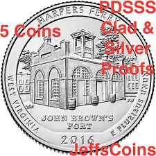 2016 PDSSS Harpers Ferry National Park 5 QUARTER SET P D S S S 90% Silver Proof