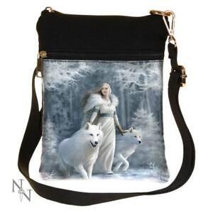 Nemesis Now Winter Guardians Anne Stokes Shoulder Bag 23cm White, PU and Canvas