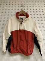 Vintage Nautica Zip Up White Red Colorblock Spellout Logo Jacket Size L