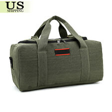 Men's Military Canvas Leather Gym Duffle Shoulder Bag Travel Luggage Handbag