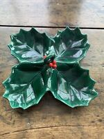 Vintage Lefton Holly Berry 4 Section Divided Candy Dish Christmas Green and Red