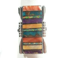 925 STERLING SILVER RECTANGLE DESIGN SPINY OYSTER OPAL TURQUOISE SIZE 6 RING