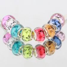 50PCS Mixed Butterfly Silver BEAD LAMPWORK fit European Charm Bracelet DIY