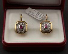 Orecchini oro 18 kt con rubino e diamante taglio a rosa stile antico