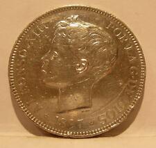 Spain 1897 Silver 5 Pesetas Circulated Cleaned