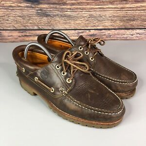 Timberland Mens Brown Leather Loafers Boat Shoes UK 9 US 9.5 W
