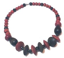 """Earthy Colors,Red,Brown, Black. Choker Style Necklace, Wood Disks N Beads 18"""""""