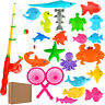Funny Fishing Rod Magnetic Fish Net Game Set Educational Toy Kids Baby Bath Time