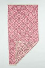 "EVE & AL 39""x73"" Floral Turkish Cotton Beach Yoga Towel - Pink & White"