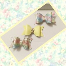 Rainbow  Glitter & Leatherette Fabric Hair Bows Set Of 3 Clips