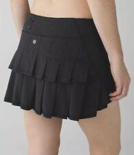 Lululemon Run: Pace Setter Skirt Skort Solid Black 6 Tennis Golf EUC Free Ship