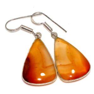 """Carnelian 925 Silver Plated Gemstone Handmade Earrings 1.7"""" Jewelry GW"""