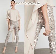 $398 NWT BCBG MAXAZRIA High-Low Sequin V-back Jumpsuit ROSE GOLD FOIL size S