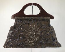 Vintage Purse Handbag Bag Spiegel Brown Wooden Handles Beaded 3D Paisley