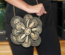 KATE SPADE Black Tan Straw Lawn Party Striped Bitsy Flower Crossbody Handbag