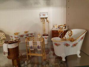 1.12 Dolls House Reutter Bathroom Suite Dresden rose.. lots of photos