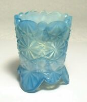 Boyd Glass Toothpick Holder Gateway Blue Slag color label Daisy & Button No Line