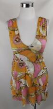 Sweet Pea Nylon Knit Top Medium Pink Orange Floral Abstract Tiered