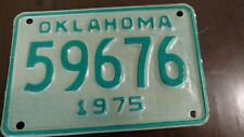 1975 Oklahoma Motorcycle #59676 All Original Vintage Motorcycle License Plate*