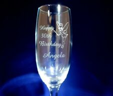 PERSONALISED CHAMPAGNE FLUTE TINKERBELL FAIRY 40TH 18TH 21ST 30TH BIRTHDAY GIFT