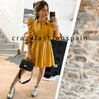 ZARA WOMAN NEW SS20 VOLUMINOUS RUFFLED DRESS MUSTARD ALL SIZES REF: 2240/202