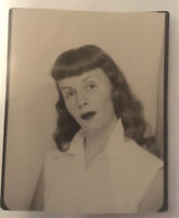 rare vintage photo booth photograph of teenage bettie page  iconic blouse  bangs