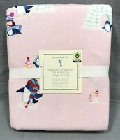 Pottery Barn Kids Pink Icy Penguin Organic Flannel Twin Duvet