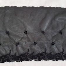 Black single edge embroidery (see through) trim 16cm wide - 2 x 9m skeins