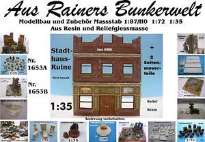 Für Diorama Nr.1653A  Stadthausruine + 2 Seitenmauerteile 1:35