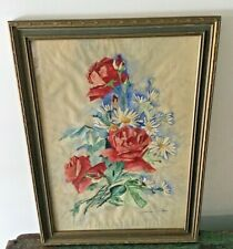 ANTIQUE expressionist roses floral flowers watercolor painting 1930'S signed