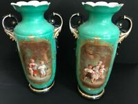 XL pair French antique vieux paris porcelain Vases romantic victorian