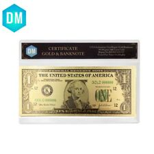 One Dollar 24k Gold Banknote Collectible 999.9 Gold Foil Note Money with COA
