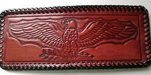 Eagle Olive Branch - Prison made Bi-fold USA Made Beautiful Leather Laced Wallet