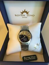 ROVEN DINO MEN'S SWISS WATCH BRAND NEW WITH 5 YEAR WARRANTY 18Kt Gold 2019MSS01