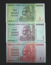 3 x Zimbabwe banknotes-10/20/50 Trillion Dollars-Paper money currency