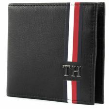 TOMMY HILFIGER CORPORATE MINI CC WALLET CARD HOLDER BLACK LETHER NEW #ER80
