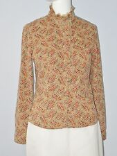 SUZUYA Size M Brown Lace Accented Button Down Long Sleeve Corduroy Blouse