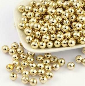 PREMIUM QUALITY GOLD PLATED ACRYLIC SPACER BEADS 4mm 6mm 8mm 10mm