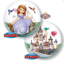"22"" Sofia the First Stretchy Plastic Qualatex Bubbles Balloon Birthday Party"