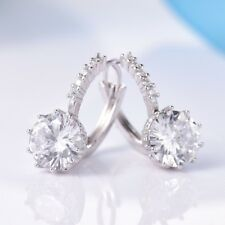 Women Round Sapphire Rhinestone Crystal Leverback Earrings Friendship Jewellery