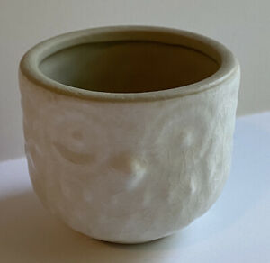 "White Owl Ceramic Succulent Planter Pot White Crackled Glaze Pottery 2.75"""