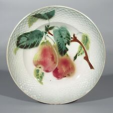 """Antique French Majolica Plate, """"Pears"""", Stamped """"Saint-Amand Hamage"""""""