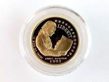 More details for 1993 james maddison/bill of rights 5 dollar proof gold coin