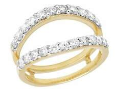 Ladies 14K Yellow Gold Genuine Diamond 12MM Jacket Ring Guard Enhancer 1.0Ct